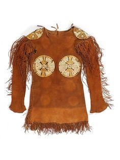 Man's Shirt Date: ca. 1750 Geography: United States, Northern Plains Culture: Northern Plains, probably Arapaho or Gros Ventre Medium: Native tanned leather, porcupine quills, pigment