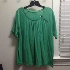✨ Marked Down ✨ NWT GAP short sleeve shirt NWT. Green oversized short-sleeve shirt with cute details on scoop neck and buttons on left side. No trades. No PayPal. GAP Tops