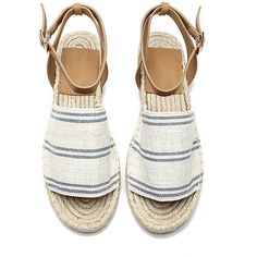 Yoins Stripe Pattern Peep toe Flat Espadrilles ($37) ❤ liked on Polyvore featuring shoes, sandals, flat peep-toe shoes, espadrille sandals, peep toe sandals, striped espadrilles and canvas sandals