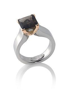 www.eskaejeweller.com.au  18ct rose and white gold smokey quartz dress ring.