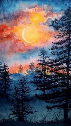 Watercolor Art Lessons, Watercolor Landscape Paintings, Landscape Art, Sunset Landscape, Forest Landscape, Diy Canvas Art, Acrylic Painting Canvas, Galaxy Painting, Art Drawings
