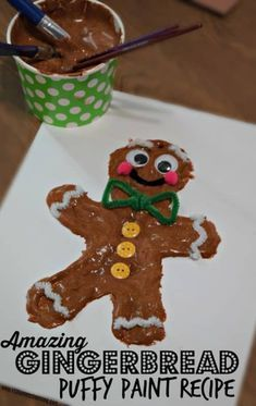 Amazing Gingerbread Puffy Paint Recipe - this easy to make gingerbread paint recipe makes such a beautiful finished prod Gingerbread Man Crafts, Gingerbread Man Activities, Gingerbread Ornaments, Christmas Activities For Kids, Winter Crafts For Kids, Preschool Christmas, Christmas Gingerbread, Kids Crafts, Spring Crafts