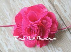 Hot pink Headband baby headband flower headband by ThinkPinkBows