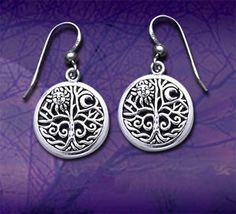 Ancient Tree of Life with Sun and Moon Symbol Round Filigree Sterling Silver Earrings: Jewelry