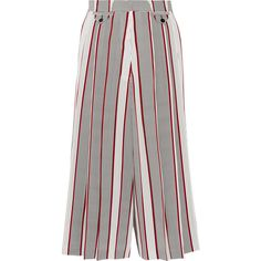 Victoria Beckham Printed pleated silk culottes ($1,950) ❤ liked on Polyvore featuring shorts, pants, bottoms, victoria beckham, patterned shorts, culottes shorts, print shorts and silk shorts