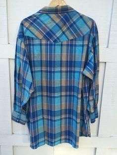 a5e598de Vintage Wrangler Plaid Western Pearl Snap Shirt // Men's XL (19-36) extra  long tails
