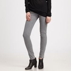 NWT Vince Skinny Jeans in Grey Vince brings a fabulous fit to these streamlined denim leggings.  Gray denim.  Five-pocket style.  Skinny legs.  Back seam detail.  Button/zip front; belt loops.  Cotton/spandex.  Imported of material from USA. Vince Jeans Skinny