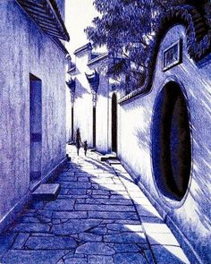 This is a classic courtyard residence drawn with ballpoint pens by Liu Kai (刘凯) , a young Chinese villager from Shanxi province and a self-taught peasant artist.