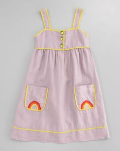 e94d2bdd1b4 Stella McCartney Ruby Linen Rainbow-Embroidered Dress - Neiman Marcus  Stylish Little Girls