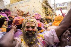 """Festive Joy - """"Festive Joy""""   Place:Barsana,UP,India   This Picture i clicked on the Festival Holi.Holi is festival of colors.People play holi by using Natural colors and rub each other face it.The festival depicts brotherhood and affection between people.You could feel happiness all around.The man in the picture was dancing and singing spiritual prayers. People also play holi with flower petals ,the to throw the delicately on each other.The man in the picture was dancing and singing…"""