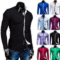 e8f471321a Camisa Casual Slim Fit de Gola Dupla Fashion Vestuário Masculino