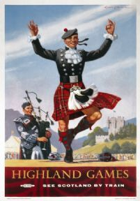 Vintage Scotland travel poster by London Midland and Scottish Railways Scottish Highland Games, Railway Posters, Train Posters, Scottish Clans, Scottish Kilts, Scottish Highlands, England And Scotland, Scotland Travel, Advertising Poster