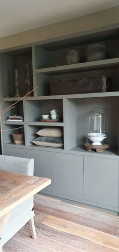 Living Room Grey, Home Living Room, Built In Shelves Living Room, Beautiful Home Designs, Living Room Inspiration, Simple House, Built Ins, Home Accessories, Furniture Design