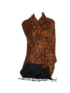 """Om Circles Prayer Meditation Shawl 28"""" X 72"""" Rayon Doubleweave (Orange) by Braja. $29.99. Om is the endless sound of oneness. 28"""" wide by 72"""" long with 20% more weight than most shawls. Soft and heavy rayon drapes beautifully. Wear your prayer!. Fair trade factory in India. Beautiful green Om Mantra shawl made in India. 28"""" by 72"""" made with double weave reversible technique in a fair trade factory in India. Om is the sound of oneness or dissolving into the universe.. Save 14%!"""