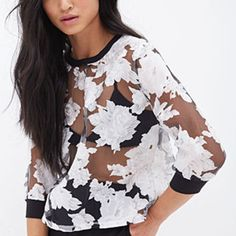 FOREVER 21 Sheer Floral Boxy Top Black/Cream
