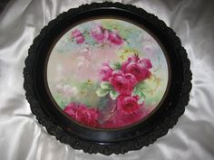 """""""VICTORIAN FRENCH HAND PAINTED TEA ROSES"""" Gorgeous Limoges France Framed Plaque ~ Tray ~ Charger ~ Magnificent Art Heirloom in Beautiful Rare Original Ornate Carved Frame ~ Collector Piece Gorgeous Master Artistry Circa 1891 - 1932"""""""