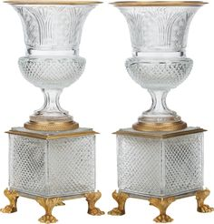 Late century gilt bronze mounted / cut glass with square footed base pair decorative vase / centerpiece. Each urn / vase is in great antique c. Vase Centerpieces, Vases Decor, Art Decor, Decoration, Baccarat Crystal, Crystal Stemware, Cut Glass Vase, Glass Art, Urn Vase