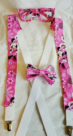 Pink Adjustable Suspenders Pink Minnie by BundlesOfJoyDesigns