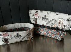 trousse de toilettes XL et son vide-poches assorti. Le patron et les tissus sont chez https://www.anis-et-bergamote.com .