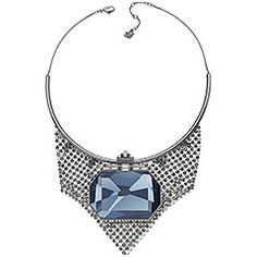 Supreme Necklace -  This statement necklace offers a strong, armor-inspired silhouette with an exquisite touch of femininity. A large Denim Blue Diamond Touch Light crystal glitters on a metalized mesh background, bringing a fluid movement. The necklace comes on a ruthenium-plated chain. $410
