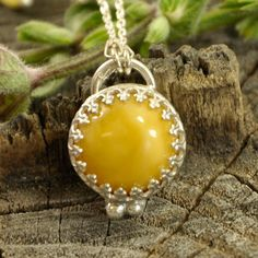 Yellow egg Amber necklace  sterling silver artistic by Ankanate