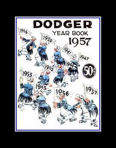 "Brooklyn Dodgers Yearbook Cover Wall Art, 1957 Baseball Wall Decor, Son Wall Art Gift, Dad Wall Decor, Fan Poster, 8x10"" 11x14"", Free Ship by ArleyArt on Etsy"