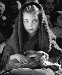 Jean Dieuzaide, The little girl with the rabbit, Nazareth, 1954