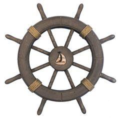Decorative Ship Wheel with Sailboat Wall Decor