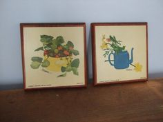 Wooden Plaque Garden Print Wall Hangings by Sandra by jessamyjay. Spring time wall adornments with daffodils and strawberries.
