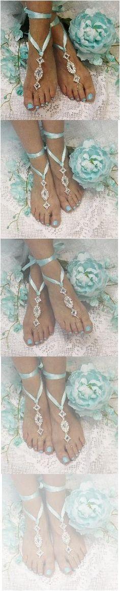 Tiffany blue wedding ideas! Rhinestone and ribbon barefoot sandals by Catherine Cole Studio