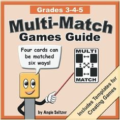 This FREE guide includes instructions for four easy-to-learn games to play with Multi-Match card sets for Grades 3-5. Similar guides adjusted for difficulty are available for  Grades K-2 and  Grades 6-8. The file downloads quickly, so please take a look! The previous version of this guide was for Grades 3-8 and has been downloaded more than 10,000 times.