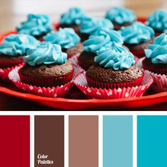 Harmoniously combines blue, brown and red hues. Each color perfectly balances and complements the other. Such a combination of colors can be used to design birthday cakes. And the living room, made in such scheme, will look unusual and individually, as well as very beautiful.
