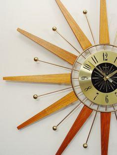 Starburst Wall Clock, Mid-Century Modern. Teak and Brass Fireworks.  50s 60s Atomic Sunburst. Mod.. #midcentury