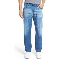 AG 'Graduate' Slim Straight Leg Jeans ($225) ❤ liked on Polyvore featuring men's fashion, men's clothing, men's jeans, mens slim cut jeans, mens straight leg jeans, mens slim fit jeans, mens slim jeans and mens blue jeans