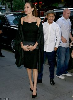 Angelina Jolie wears all black to see Hamilton with her son Knox aa002737447