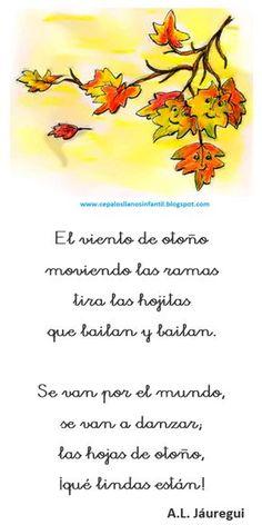 con o de otoño - Buscar con Google Spanish Songs, Spanish 1, Spanish Class, Dual Language Classroom, Kindergarten Songs, Spanish Vocabulary, Kool Kids, Spanish Activities, Poetry Poem