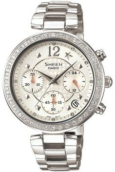 Ladies Sheen SHN-5014D-7A Chronograph Watch Steel Band Watch
