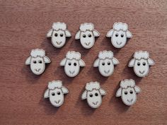 Wooden Sheep Buttons pack of 5 or 10