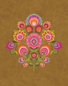 Popular Folk Embroidery Wycinanki Giclee Folk Art Print Imagine Harvest Colors by Groovity - Folk Art Flowers, Flower Art, Polish Folk Art, Illustration Blume, Scandinavian Folk Art, Truck Art, Guache, Mexican Folk Art, Embroidery Patterns