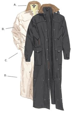 The J. Peterman Coat? A classic, Western style duster. Well made and looks good.