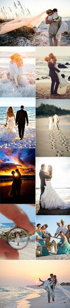 romantic beach themed wedding photo ideas
