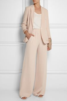 EXCLUSIVE TO NET-A-PORTER.COM. Joseph's wide-leg pastel-pink 'Chester' pants tap two of Spring '14's key trends. This matte-silk pair sits high on your waist and has smart pressed creases. Wear yours with the matching blazer.  Pastel-pink matte-silk Concealed button, hook and zip fastening at front 100% silk; pocket lining: 100% polyester Dry clean Designer color: Powder About $800 Net-A-Porter