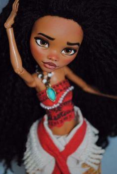 MOANA-Monster-High-OOAK-Disney-Moana-CUSTOM-Doll-Repaint-puppe