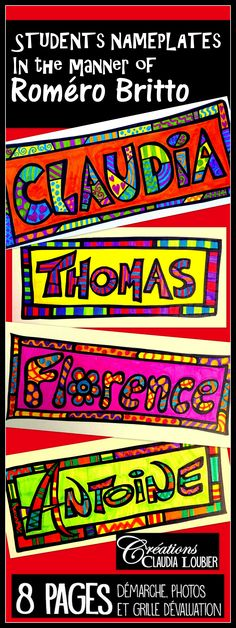 Students Nameplates: Art Project in the Style of Roméro Britto Back to school ! Students Nameplates Start your year of artistically with this fun and enriching activity. Here is an art project to identify your student's desks. Name Art Projects, School Art Projects, Project Projects, Back To School Art, Art School, High School, 5th Grade Art, Ecole Art, Beginning Of The School Year