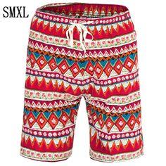 smxl Pure cotton Men 2017 Summer Fashion Short Casual Slim Bermuda Masculina Beach Shorts Joggers Trousers Knee Length striped