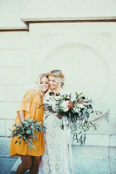 Love these bridesmaids mustard yellow dress                                                                                                                                                                                 More Mustard Bridesmaid Dresses, Bohemian Bridesmaid Dresses, Fall Wedding Bridesmaids, Boho Wedding Bouquet, Bridesmaid Color, Yellow Bridesmaid Dresses, Wedding Garters, Bride Bouquets, Wedding Hair