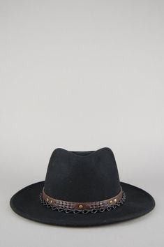 f63dbbcc609c67 Vintage Chained Up Felt Fedora Leather Band Hat – One More Chance Vintage