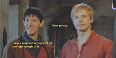 I was teaching him some poetry...  This is definitely one of the funniest scenes in Merlin! :D