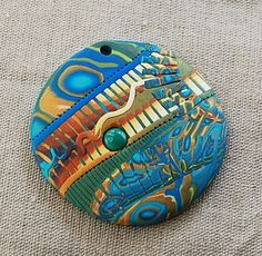 handmade polymer clay fimo and sculpey pendant - 09E16