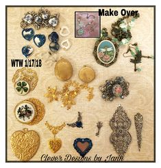 My WTW for 1/17/18 .. using hearts again this week, lockets, a makeover, a bracelet I started and never finished and a few other things .. Clever Designs by Jann